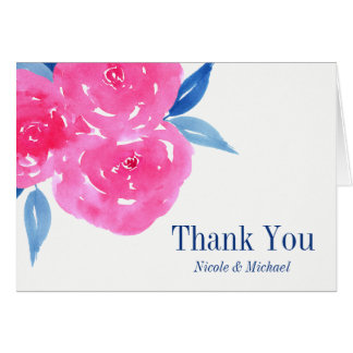 Pink Navy Blue Watercolor Flowers Thank You Card