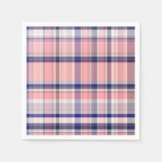 Pink Navy Blue White Preppy Madras Plaid Disposable Napkins
