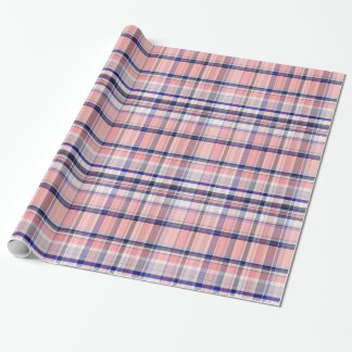 Pink Navy Blue White Preppy Madras Plaid Wrapping Paper