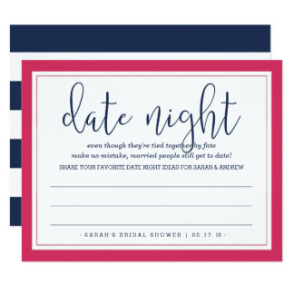 Pink & Navy Bridal Shower Date Night Card