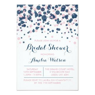 Pink & Navy Confetti bridal shower invitation