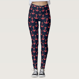 Pink Navy Gold Nautical Anchor Leggings