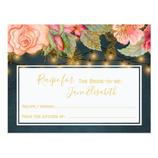 Pink navy gold romantic bride to be recipe card