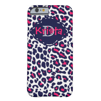 Pink & Navy Leopard Print With Custom Monogram Barely There iPhone 6 Case