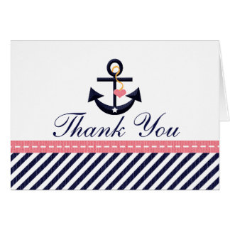 Pink Navy Nautical Anchor Thank You Notes Cards
