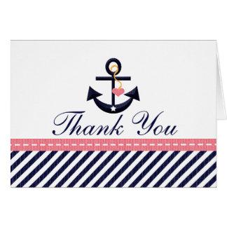 Pink Navy Nautical Anchor Thank You Notes Cards