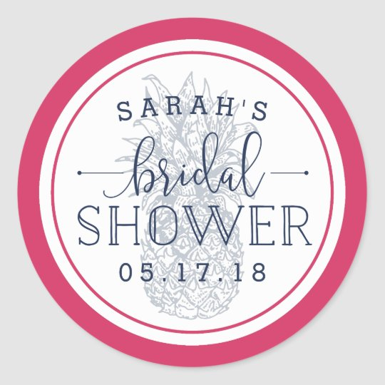 Pink & Navy Pineapple Bridal Shower Classic Round Sticker