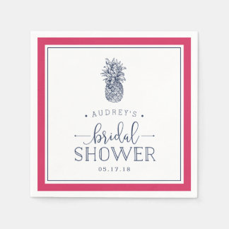 Pink & Navy Pineapple Bridal Shower Disposable Napkins