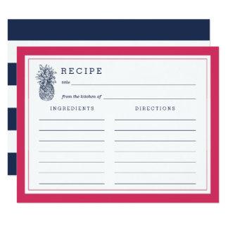 Pink & Navy Pineapple Recipe Card