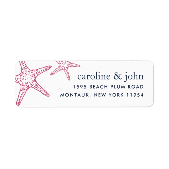 Pink & Navy Starfish Return Address