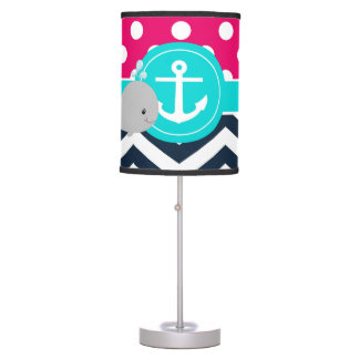 Pink Navy Teal Whale Table Lamp