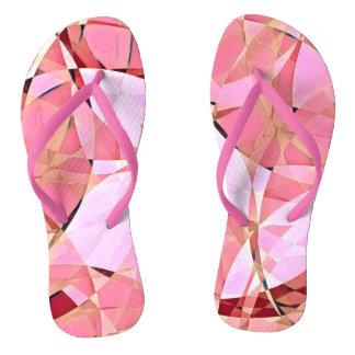 Pink neon harlequin flip flops