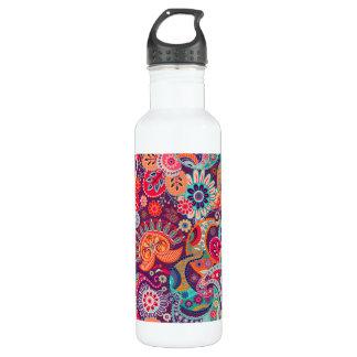 Pink neon Paisley floral pattern 710 Ml Water Bottle