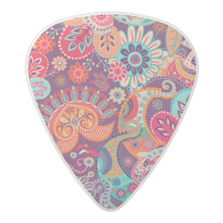 Pink neon Paisley floral pattern Acetal Guitar Pick