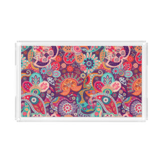 Pink neon Paisley floral pattern Acrylic Tray