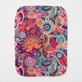 Pink neon Paisley floral pattern Burp Cloth