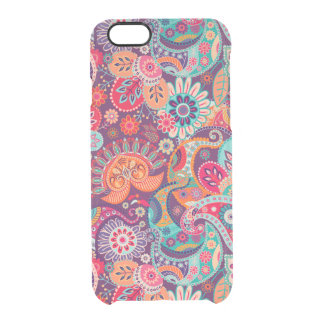 Pink neon Paisley floral pattern Clear iPhone 6/6S Case