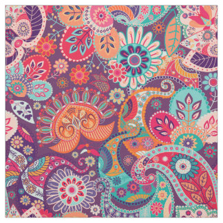 Pink neon Paisley floral pattern Fabric