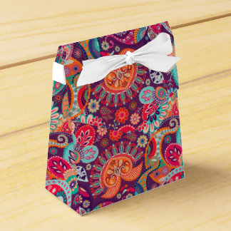 Pink neon Paisley floral pattern Favor Box