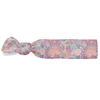 Pink neon Paisley floral pattern Hair Tie