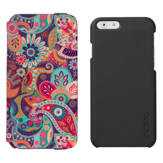 Pink neon Paisley floral pattern Incipio Watson™ iPhone 6 Wallet Case