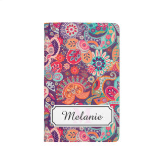 Pink neon Paisley floral pattern Journal