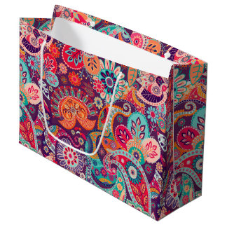 Pink neon Paisley floral pattern Large Gift Bag