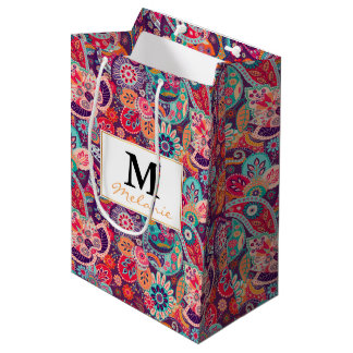 Pink neon Paisley floral pattern Medium Gift Bag