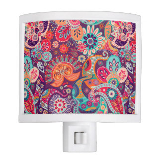 Pink neon Paisley floral pattern Night Light