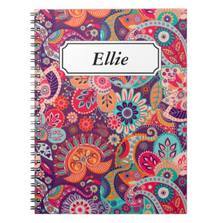Pink neon Paisley floral pattern Note Book