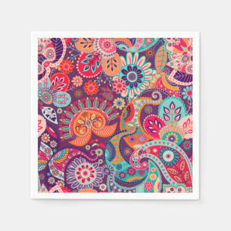 Pink neon Paisley floral pattern Paper Napkin