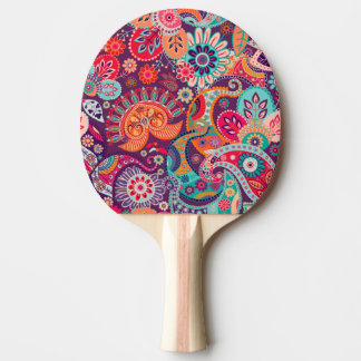 Pink neon Paisley floral pattern Ping Pong Paddle