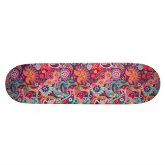 Pink neon Paisley floral pattern Skateboards