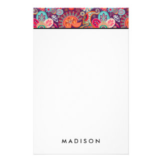 Pink neon Paisley floral pattern Stationery