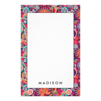 Pink neon Paisley floral pattern Stationery Paper