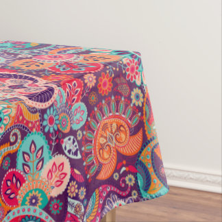 Pink neon Paisley floral pattern Tablecloth