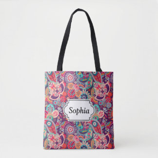 Pink neon Paisley floral pattern Tote Bag