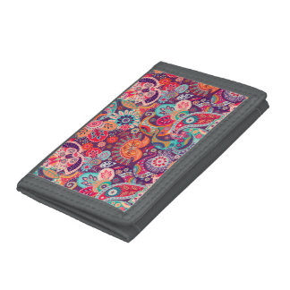 Pink neon Paisley floral pattern Trifold Wallet