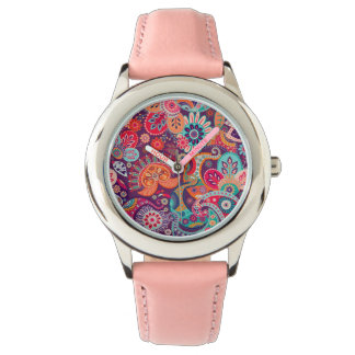 Pink neon Paisley floral pattern Watch