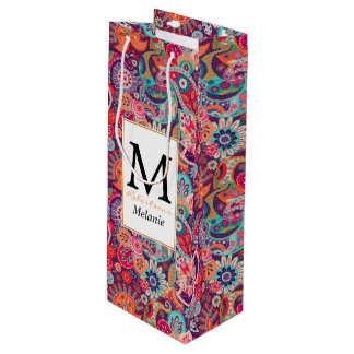 Pink neon Paisley floral pattern Wine Gift Bag