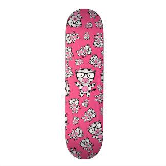 Pink nerd cow pattern skateboard