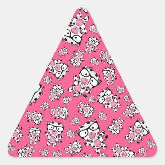 Pink nerd cow pattern triangle stickers