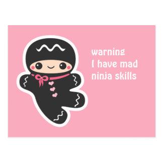 Pink Ninjabread Man Postcard