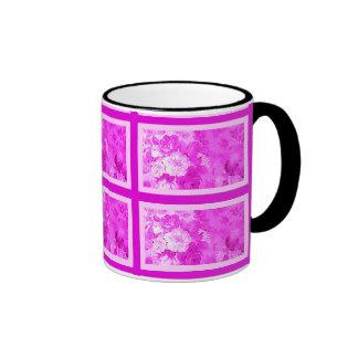 Pink Nostalgia Flower with pink Border Ringer Mug