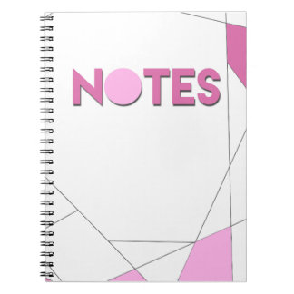 Pink Notebook, line work, simple, chic Spiral Note Book