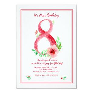 Pink Number 8 Invitation