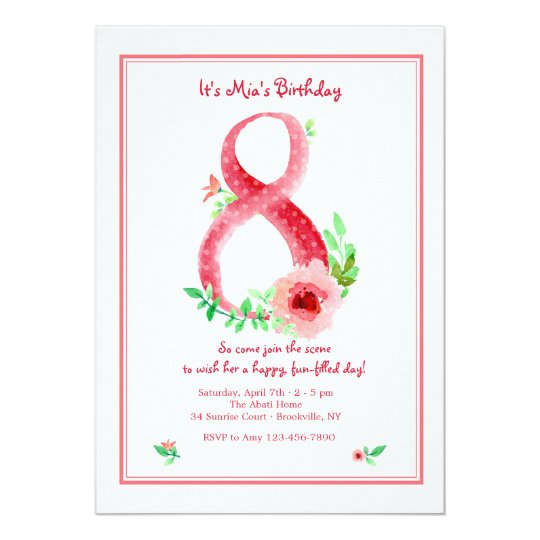 Pink Number 8 Invitation