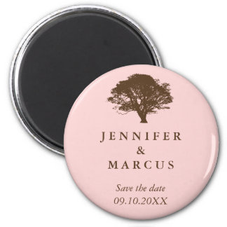 Pink oak tree wedding announcement save the date magnet