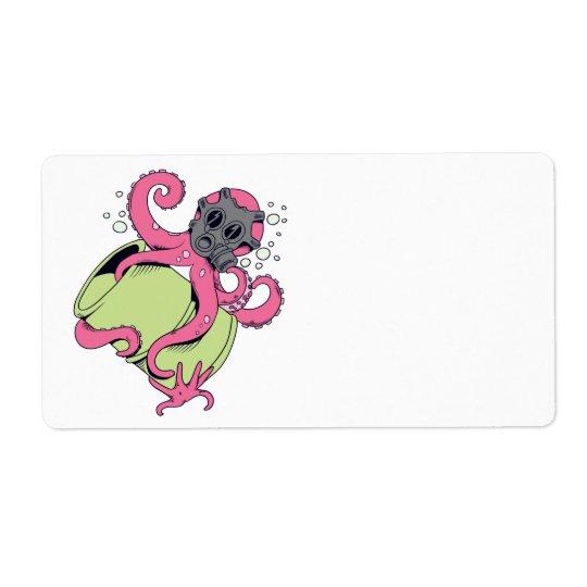 pink octopus wearing gas mask