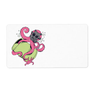 pink octopus wearing gas mask shipping label